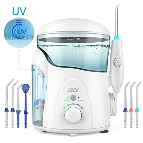 Irrigador Dental con UV Esterilizador, XPretty Water Flosser Irrigador Bucal Impermeable Water Jet Flosser de Agua Profesional Multifuncional Aquarius con 7 ...
