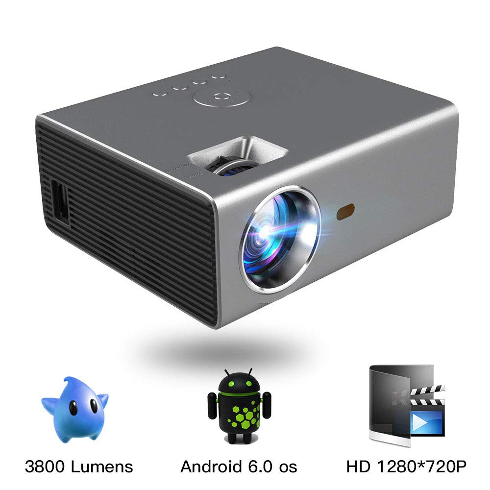 Proyector LED Inteligente HD 1280 * 720P Android 6.0OS 3800 ...