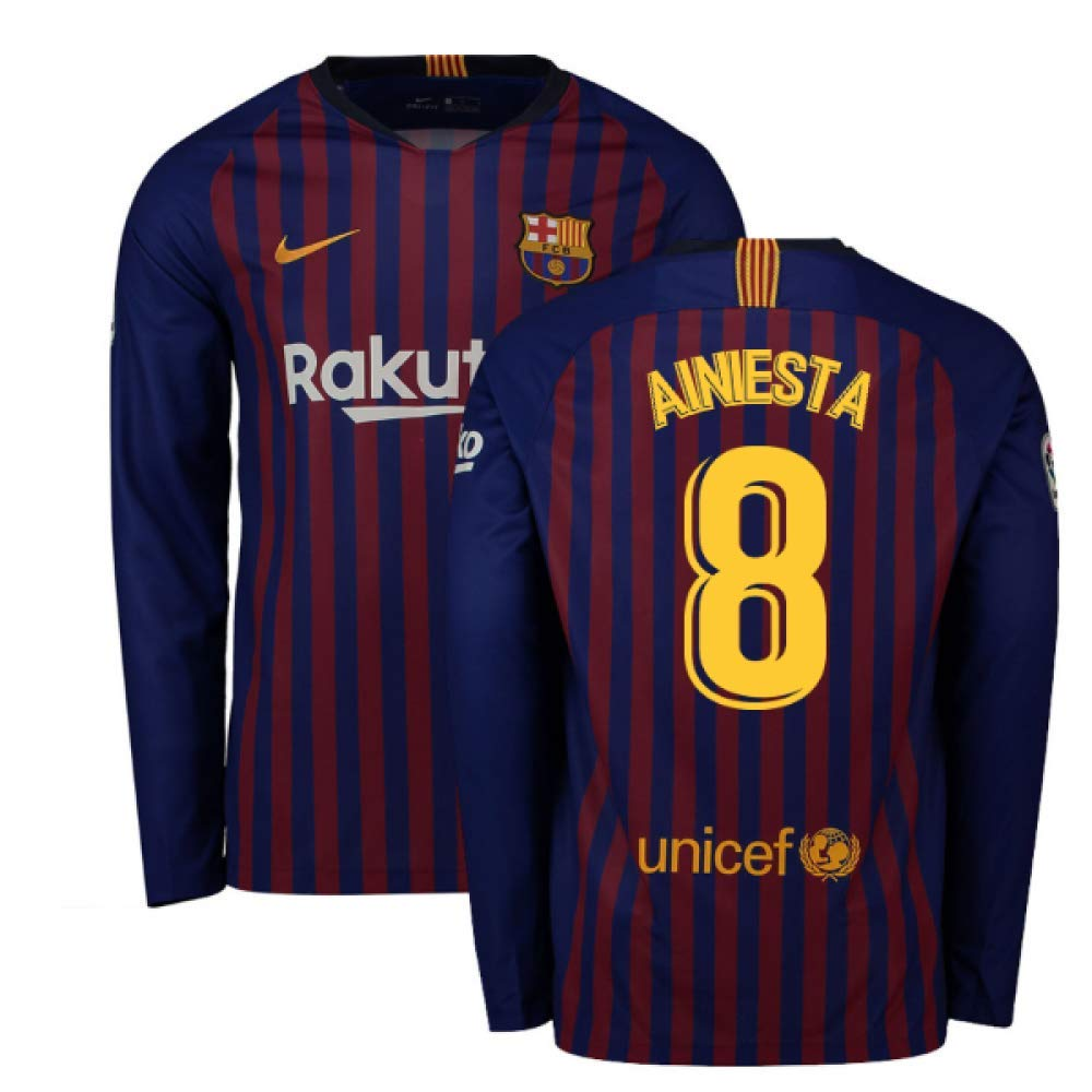 2018-2019 Barcelona Home Nike Long Sleeve Football Soccer T-Shirt Trikot (Andres Iniesta 8)