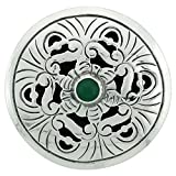 Sterling Silver Floral Mandala Brooch Pin Pendant w/ Green Color Crystal, 2 inch