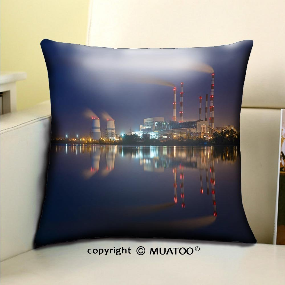 PleayeL Soft Canvas Throw Pillow Covers Cases for Couch Sofa -cherepetskaya power plant tula region russia Print 18 x 18(45 x 45 cm)