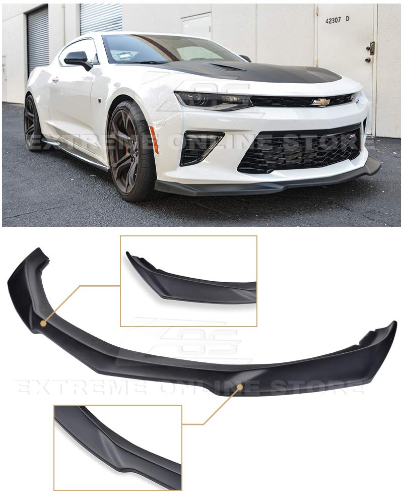 Replacement For 2016-2018 Chevrolet Camaro SS Models | ZL1 Style ABS Plastic Primer Black Front Bumper Lower Lip Splitter