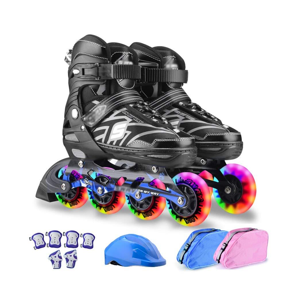 男性女の子 屋外フィットネスタイプ ローラースケート, ジュニア用ポータブル屋内 インラインスケート,大人 初心者贈り物向け Inline Skate (Color : 黒-2, Size : M-EU(35-38)) 黒-2 M-EU(35-38)