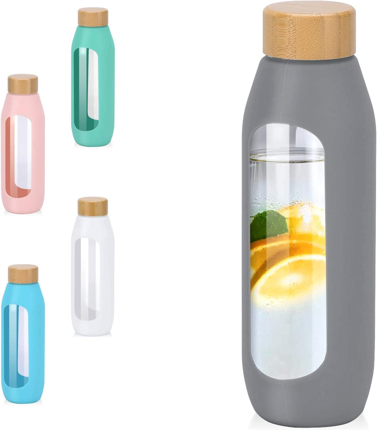 YIXUN 20oz Glass Water Bottle with Silicone Sleeve Leak Proof Lid Fit Cup Holder Ideal for Office Home
