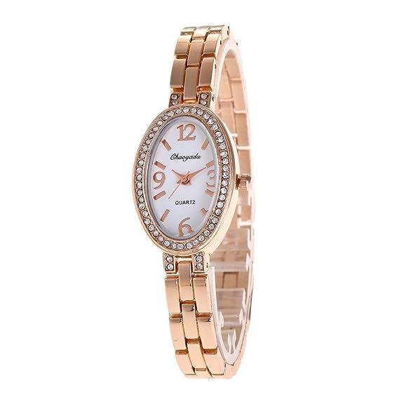 YAZILIND Cuarzo Reloj clásico de Diamantes de imitación Pulsera de Acero de Titanio (Oro Rosa): Amazon.es: Relojes