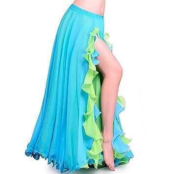 87d8b8c31 ROYAL SMEELA Falda de Danza del Vientre para Mujer Faldas largas de chifón  con Abertura Volantes de Doble Capa Falda Larga Big Swing Disfraz de Danza  ...