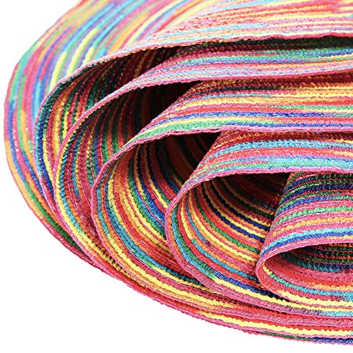 Woven Braided Colorful Round Placemats Heat Resistant Dining Table Mats Non-slip Washable Place Mats Set of 6 by DOZZZ (Image #4)