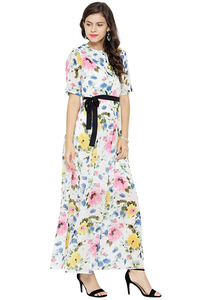 f6d68e9cec3a Sassafras Women s White Floral Belted Maxi Dress  Amazon.in  Clothing    Accessories