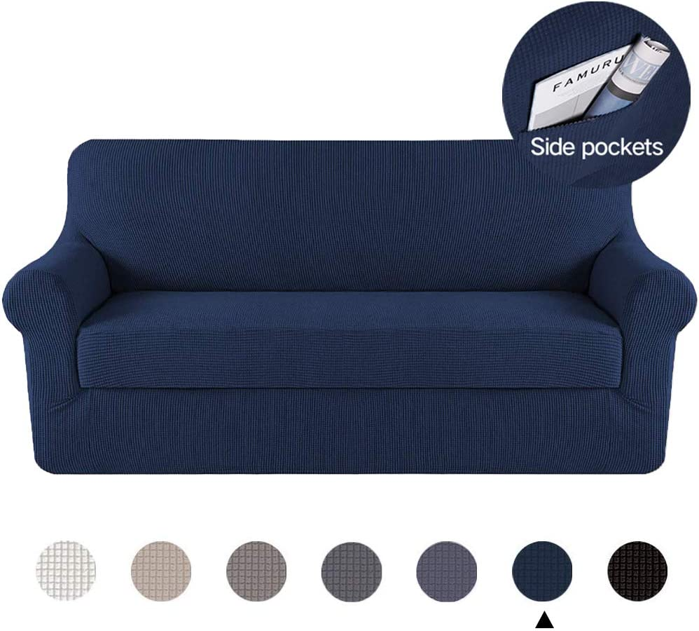 Marchtex Durable Sofa Slipcover Navy Couch Covers Furniture Protector, Machine Washable Jacquard Polyester Spandex Sofa Slipcover, 2 Pieces