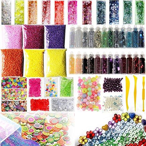 TOOGOO 55 Pack Slime Beads Charms, Include Fishbowl Beads, Foam Balls, Glitter Jars, Fruit Flower Animal Slices, Pearls, Slime Tools for DIY Slime Making, Homemade Slime