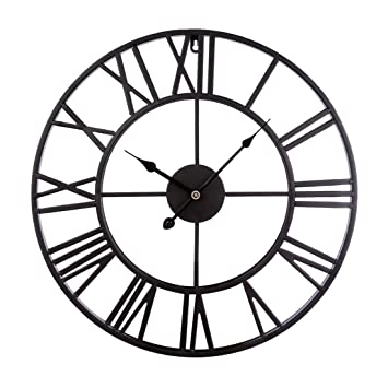 Reloj de Pared Moderno, CT-Tribe 47cm Hierro Reloj Moderno Decoración Adorno para Hogar Habitación - Negro: Amazon.es: Hogar