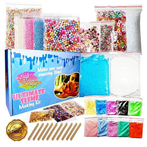 Pigment Kit - Ultimate Slime Kit for Girls and Boys - Supplies and Add Ins for DIY Slime: Air Dry Clay, Pigment Powder, Fishbowl Beads, Foam Beads, Nail Slices, Glitter Stars, Fake Sprinkles (Glue Not Included)