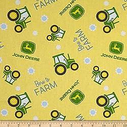 E. E. Schenck 0588932 Springs Creative John Deere Nursery Born to Farm Toss Multi Fabric by The Yard, Multicolor