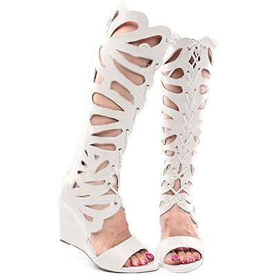Forever Link Womens Rainbow-01 Gladiator Wedge Sandals | Platforms & Wedges