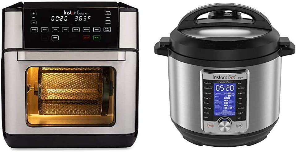 Instant Vortex Pro Air Fryer Oven 9 in 1 with Rotisserie, 10 Qt, EvenCrisp Technology & Ultra 10-in-1 Electric Pressure Cooker, Sterilizer, Slow Cooker, Rice Cooker, 6 Quart, 16 One-Touch Programs