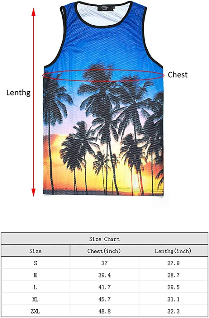 Shirts Summer Beach Workout 3D Printed Casual Pattern Cool Tank Top Sleeveless T Funny Tank Tops for Men