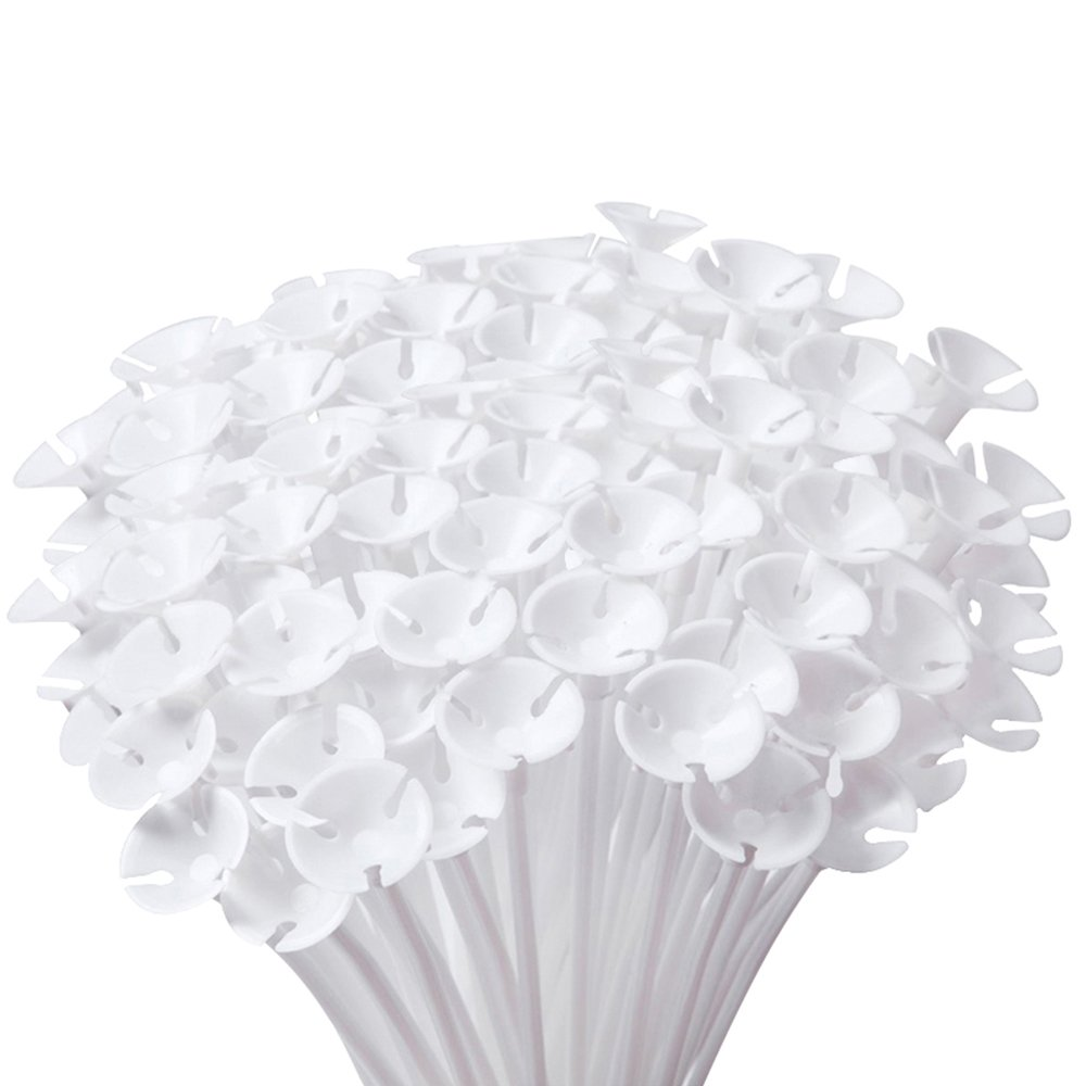Caydo 200 Pieces White Balloon Sticks Holders with Cups for Wedding, Party, Holidays, Anniversary Decor