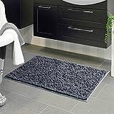 "VDOMUS Microfiber Shag Bathroom Mat,Bedroom Living room Kitchen Floor Rug (22"" x 39"", Grey)"