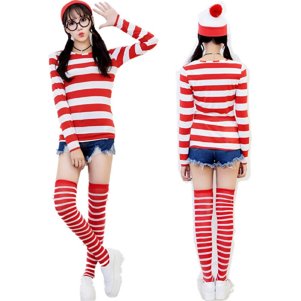 Mocona Women Where's Waldo Costume Funny Sweatshirt Outfit Glasses Suits by Mocona Cosplay