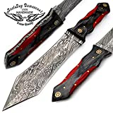 "Beautiful Black With Red Wood 11.5"" Fixed Blade Handmade Damascus Steel Hunting Knife 100% Top Quality For Sale"