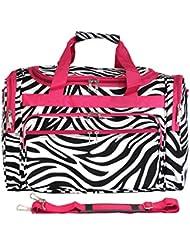 Luggage 19 Duffle Bag, Pink Trim Zebra, One Size