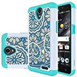 zte prelude silicone case - ZTE Prestige 2 Case, ZTE Maven 3 Case, ZTE Prelude Plus Case,ZTE Overture 3 Case, LEEGU [Shock Absorption] Dual Layer Heavy Duty Protective Silicone Plastic Cover Rugged Case - Blue Flower