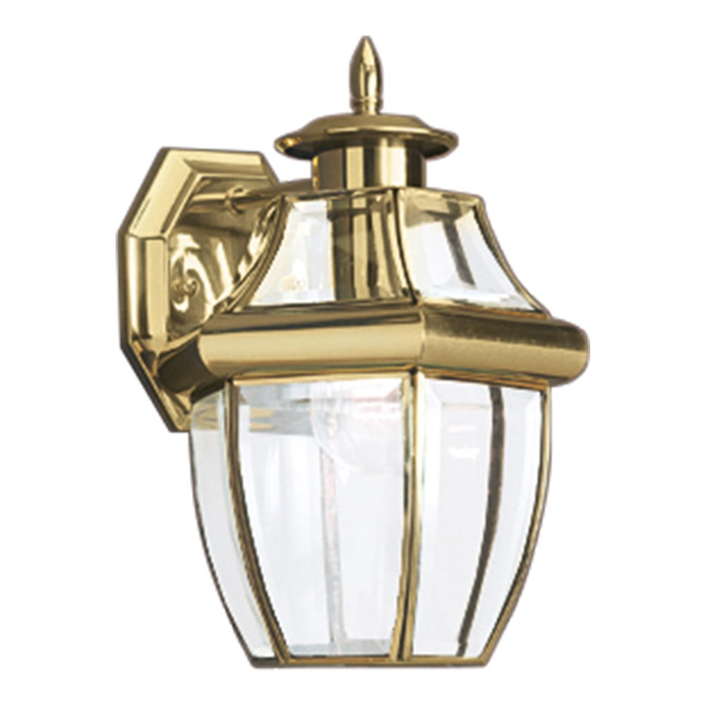 Sea Gull Lighting 8038-02 Lancaster One-Light Outdoor Wall Lantern with Clear Curved Beveled Glass Panels, Polished Brass Finish