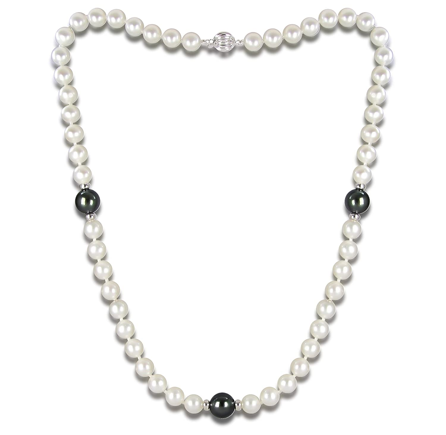 14k White Gold 7-7.5mm Freshwater Cultured and 3 pcs 9-9.5mm Tahitian Cultured Pearl Necklace 18