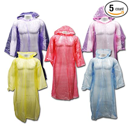 Outdoor Alchemist 5 Pack Emergency Rain Ponchos with Sleeves and Drawstring  Hood, Long Large Plastic 406208dcdce