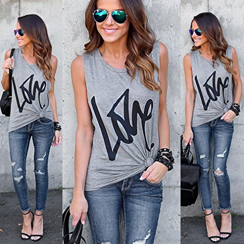 gilet maniche di Adeshop Camicetta Woman Print Love lunghe For puro di colore a Letter maniche Summer Maglietta senza sciolto Girocollo Women 1qxAfqSg