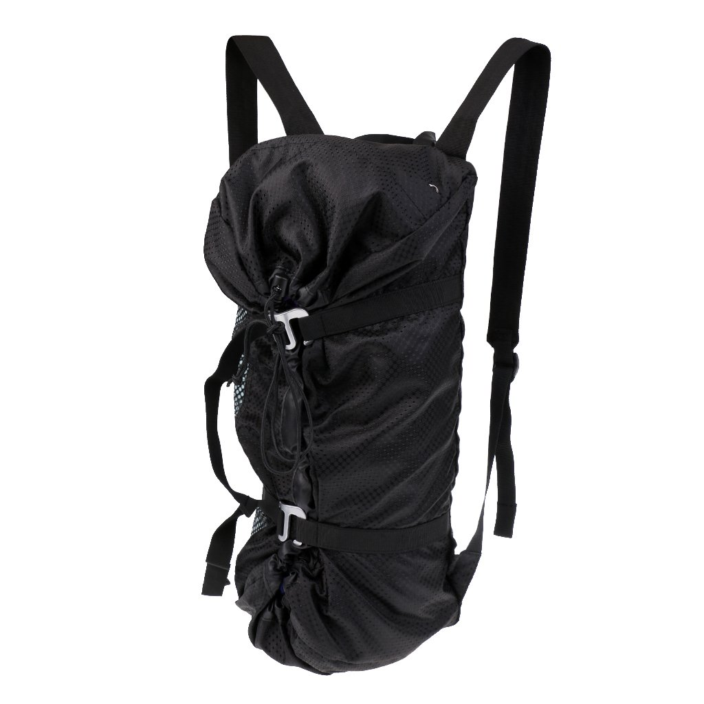MonkeyJack Large Ultra-light Folding Outdoor Rock Climbing Rope Equipment Storage Bag Backpack with Ground Sheet & Shoulder Straps Black