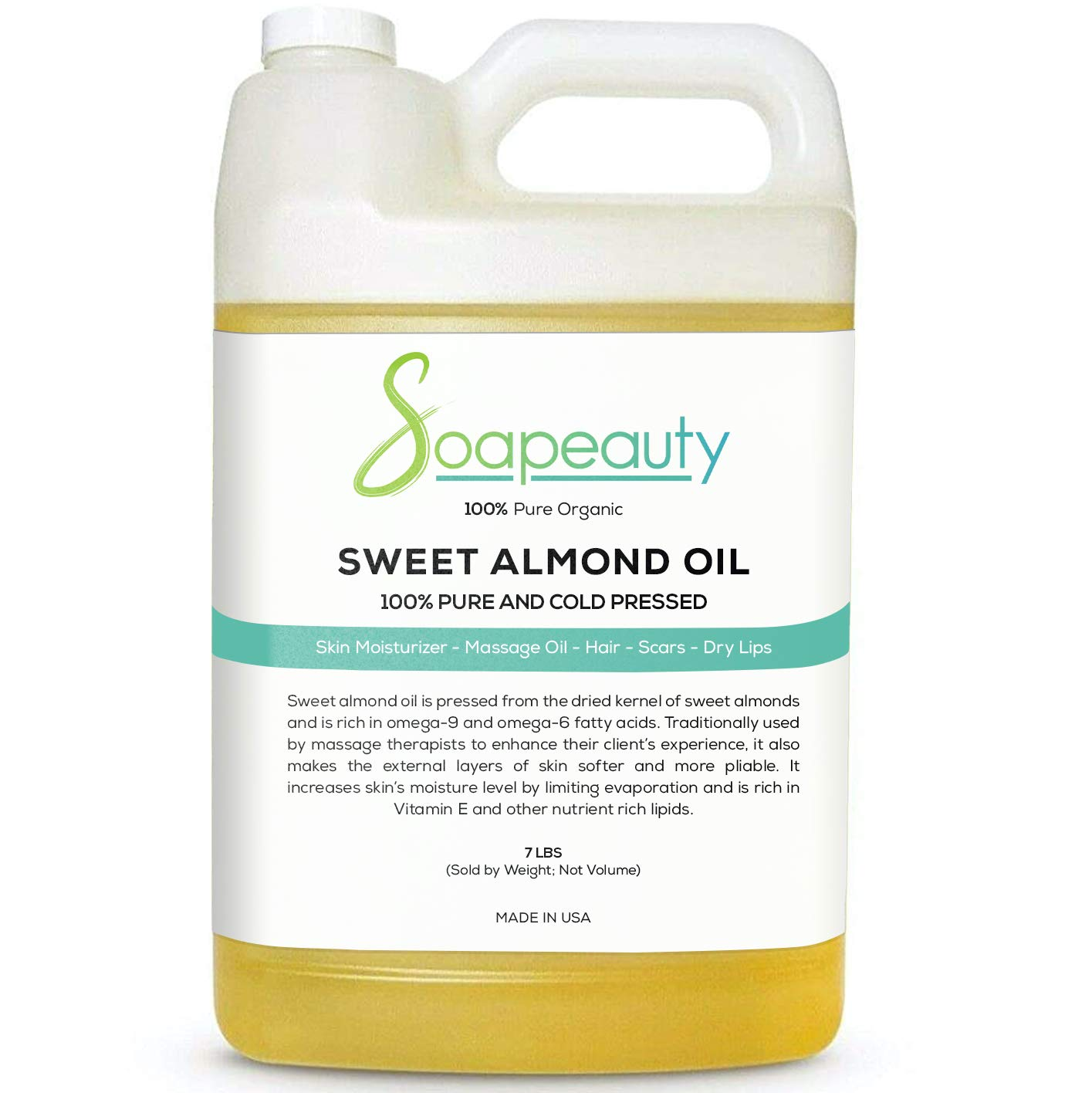 Sweet Almond Oil Organic Cold Pressed Unrefined | 100% Pure Natural Available in Bulk | Carrier Essential Oils, Moisturizer Skin, Face & Hair, Soap Making | Sizes 4OZ to 1 Gallon | (7 LBS/ 1 Gallon)