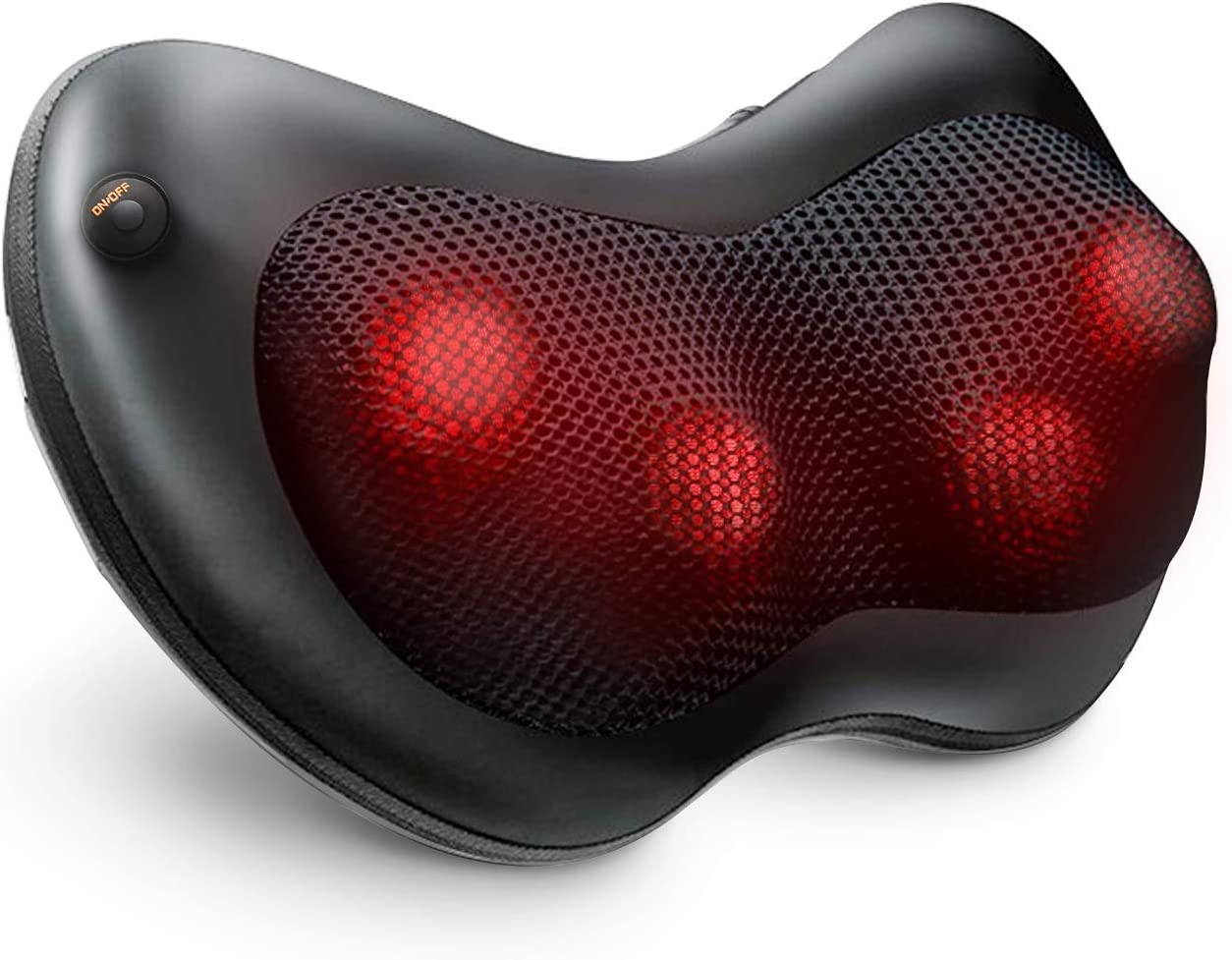 Naipo Massage Pillow Neck Back Massager with Heat, Shiatsu Deep Kneading for Shoulder Leg Foot and Full Body Pain Relief, Stress Relax at Home Office and Car - Black