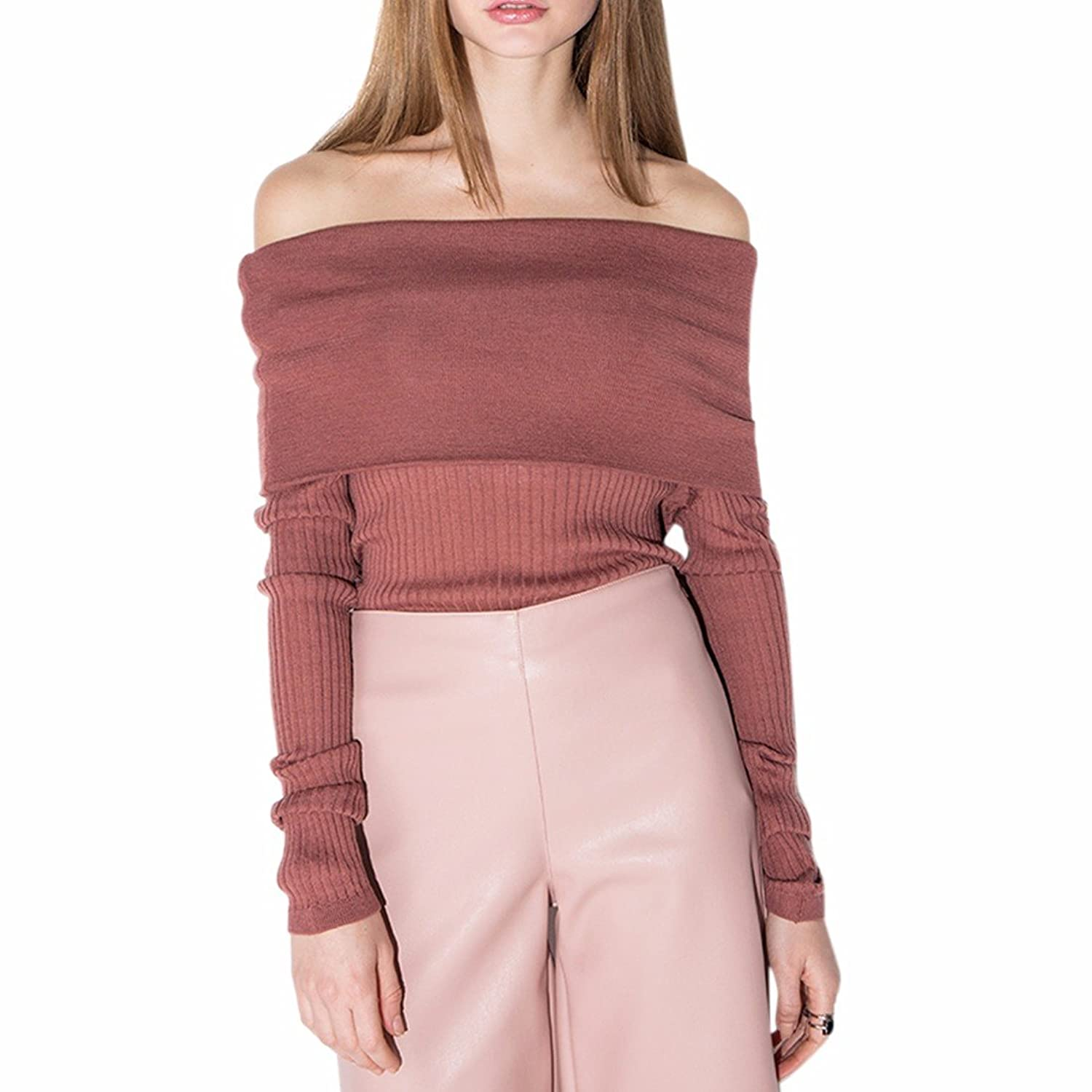 Sexy Women Solid Color Off Shoulder Sweater Pullover Jumper Long Sleeve Knitwear