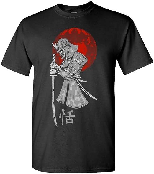Samurai Blood Moon - Ninja Japan Assasin - Mens Cotton T-Shirt