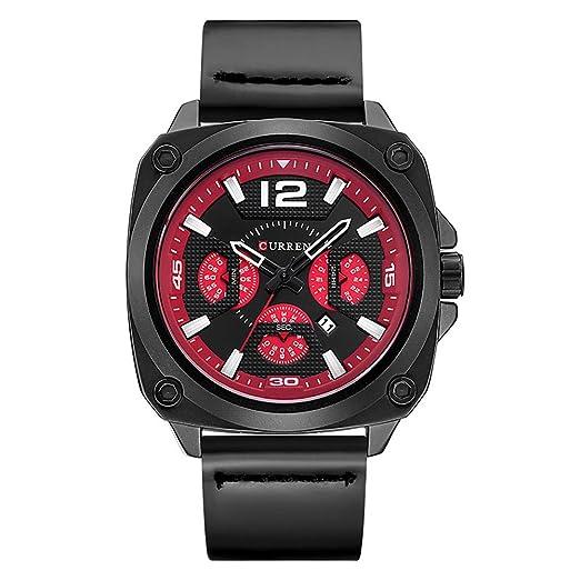 Curren 8260 (todos los Negro Rojo) de los hombres del deporte del reloj de pulsera, correa de piel resistente al agua fecha buena calidad: Amazon.es: ...