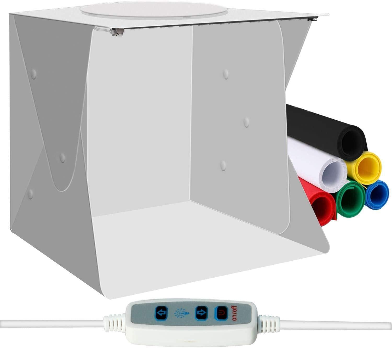Caja de Estudio Fotográfico Portátil, Kit de Carpa de Fotografía Plegable Plegable WANXIAN, Caja de Luz con Orificio Superior, Brillo Ajustable 2 Luces LED y Fondo de Color de 6 Piezas (40x40cm):
