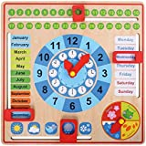 Pidoko Kids All About Today Calendar Board - My First Clock - PreSchool Educational & Learning Wooden Toy | Graduation Gifts For Toddlers Boys and Girls 3 Year Olds +