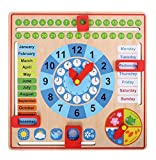 Toys : Pidoko Kids All About Today Calendar Board - My First Clock - PreSchool Educational & Learning Wooden Toy | Graduation Gifts For Toddlers Boys and Girls 3 Year Olds +