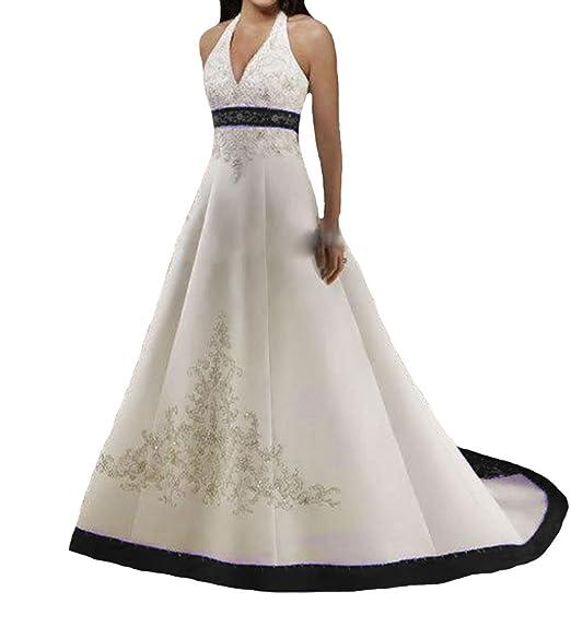 O.D.W O.D.W.Handmade Satin A-Line Embroidery Halter Vintage Wedding ...