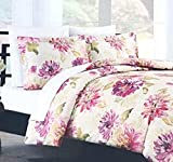 Nicole Miller Painted Gouache Large Flowers Aquarelle French Country Floral Duvet Quilt Cover 3pc Set 100% Cotton Cottage Bedding Ivory Green Red Pink Yellow (King)