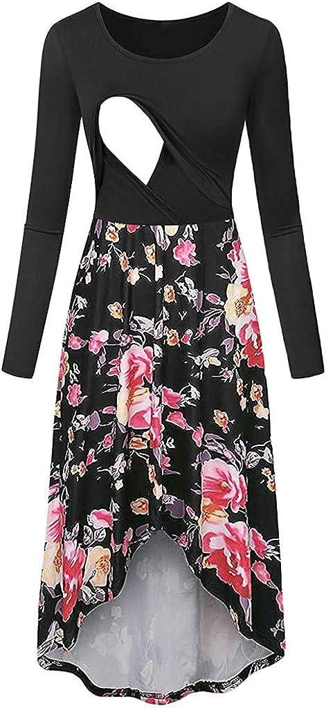 Robe De Maternit/é Femmes Bande De /À Manche Longue T-Shirt Chemise Allaitement Femme Maternit/é Robe Moulante dallaitement Cravate Devant MerryDate