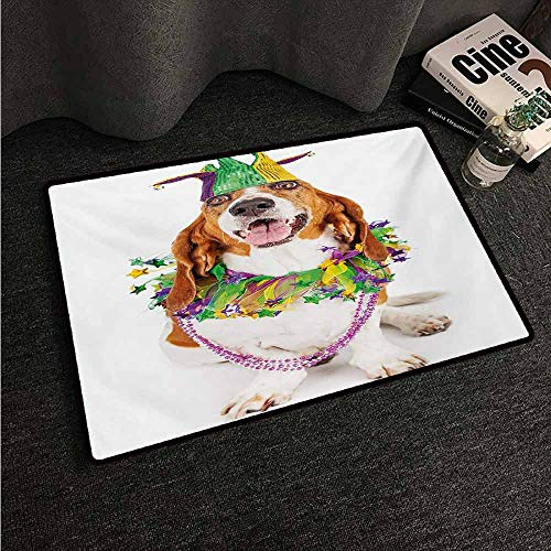 HCCJLCKS Welcome Door mat Mardi Gras Happy Smiling Basset Hound Dog Wearing a Jester Hat Neck Garland Bead Necklace Country Home Decor W31 xL47 Multicolor