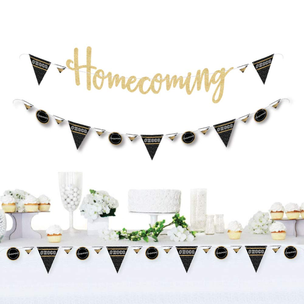 HOCO Dance - Homecoming Letter Banner Decoration - 36 Banner Cutouts and No-Mess Real Gold Glitter Homecoming Banner Letters