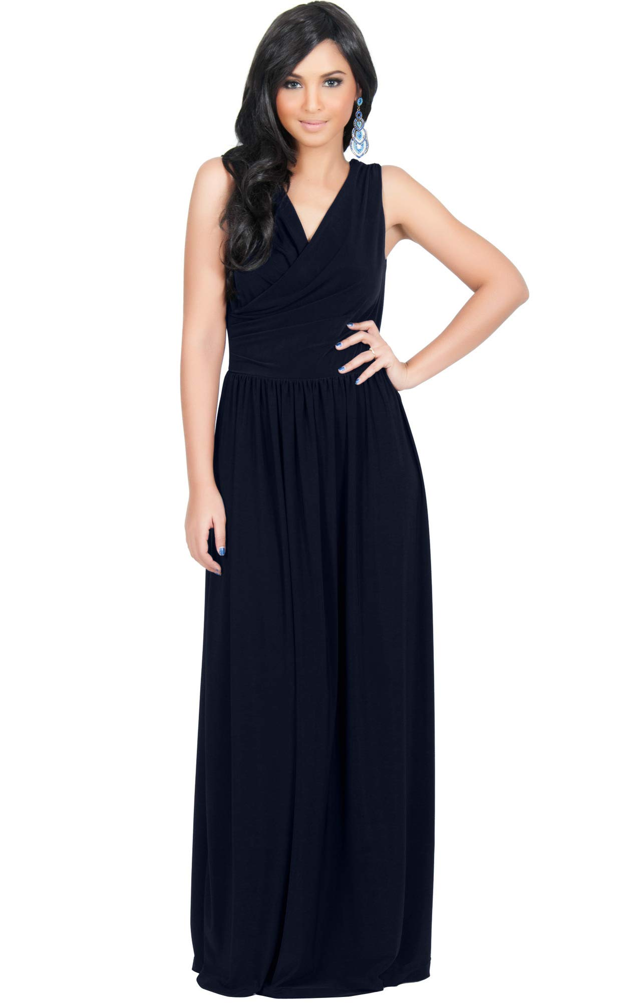 dcf94762615 KOH KOH Plus Size Womens Long Sleeveless Sexy Summer Semi Formal Bridesmaid Wedding  Guest Evening Sundress Sundresses Flowy Gown Gowns Maxi Dress Dresses