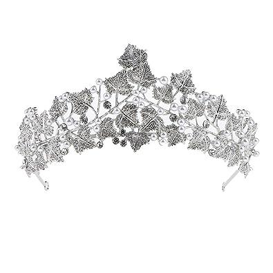 Kristall Tiara Haarreif Blumeblatt Stirnband Haarschmuck Hochzeit
