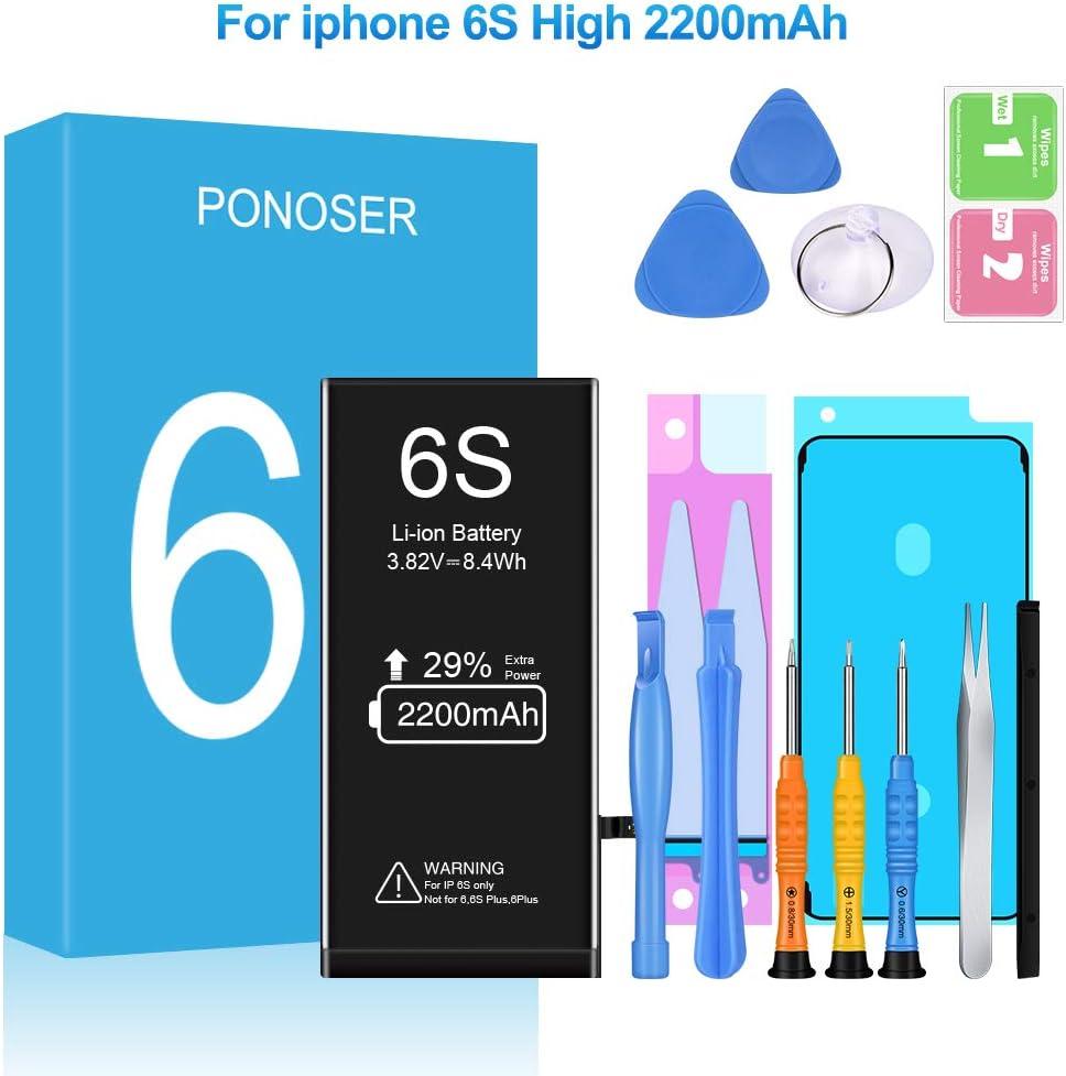 Ponoser 2200mAh Batería para iPhone 6S con 29% más de Capacidad Que la batería y con Kits de Herramientas de reparación (2 años de garantía)