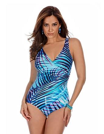 40c3dd7e80c8a Miraclesuit Women's Palm Reader Blu One Piece Surplice Swimsuit Blue 10