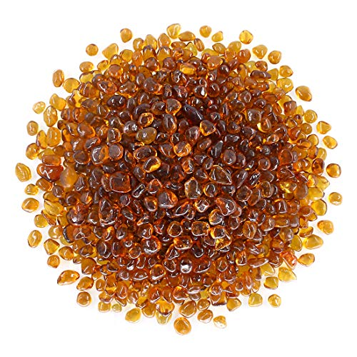 Hilitchi Glass Stones Non-Toxic Beautiful Smooth Vibrant Colors Vase Filler, Table Scatter, Aquarium Fillers, Gems Displaying, Gem Glass Confetti [Amber Stone Aprox. 1.1lb(500g)/Bag]