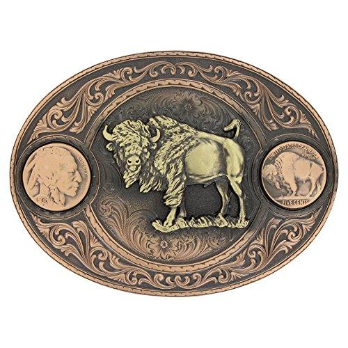 Montana Silversmiths Miners Buffalo Indian Head Nickel Belt Buckle with (Buffalo Nickel Buckle)